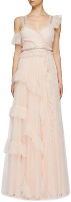 Needle & Thread 'Degas' asymmetric tiered tulle gown