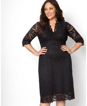 Kiyonna Women's Plus Size Scalloped Boudoir Lace Dress
