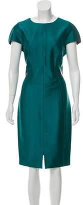 J. Mendel Short Sleeve Midi Dress Teal Short Sleeve Midi Dress