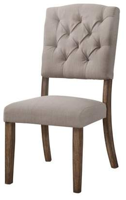 Acme Bernard Side Chair, Set of 2 in Cream Linen and Weathered Oak