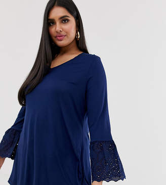 Simply Be longline v neck t-shirt with broderie sleeves in navy