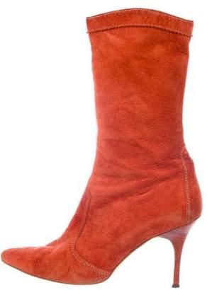 Manolo Blahnik Suede Mid-Calf Boots