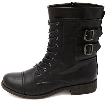 Charlotte Russe Lace-Up Double Buckle Combat Boots