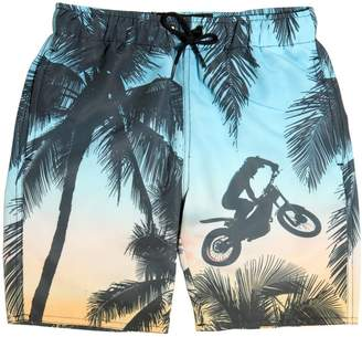 Finger In The Nose Palm Tree Printed Nylon Swimming Shorts
