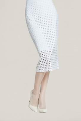 Clara Sunwoo White Perforated Skirt