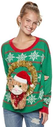 It's Our Time Its Our Time Juniors' Cat Wreath Christmas Sweater