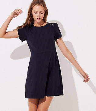 LOFT Petite Pinstriped Shoulder Button Dress