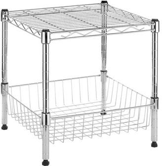 Whitmor Stacking Shelf with Basket Chrome