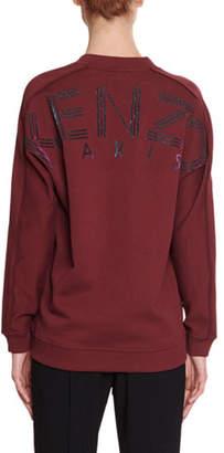 Kenzo V-Neck Pullover Sweatshirt with Glitter Logo