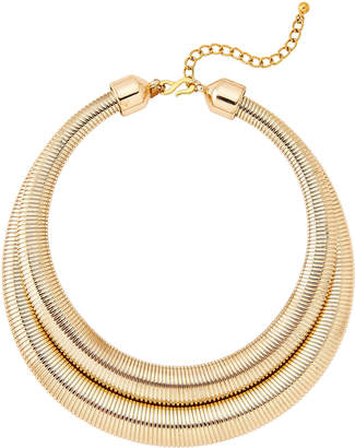 Kenneth Jay Lane Two-Row Gold-Tone Snake Chain Collar Necklace