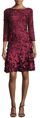 Theia 3/4-Sleeve Petal-Detail Cocktail Dress, Burgundy $895 thestylecure.com