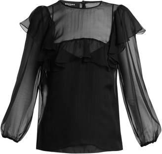 Rochas Sheer ruffle silk blouse