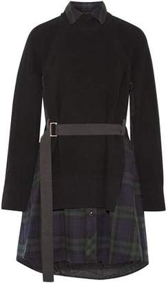 Sacai Layered Waffle-Knit Wool And Checked Cotton-Flannel Dress