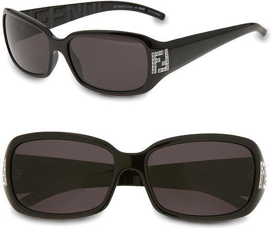 Fendi Crystal Logo Rectangle Sunglasses