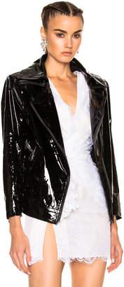 Moto Zeynep Arcay Patent Leather Oversized Biker Jacket