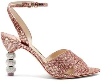 Sophia Webster Natalia crystal embellished-heel glitter sandals