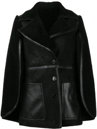 Neil Barrett shearling cape coat