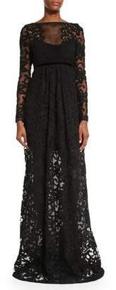 Burberry Long-Sleeve Macrame Gown, Black