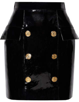 Balmain Button-embellished Patent-leather Mini Skirt - Black