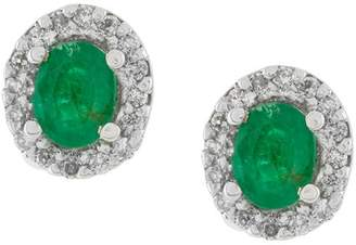 Wouters & Hendrix Gold 18kt gold, diamond and emerald stud earrings