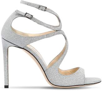Jimmy Choo 100mm Lang Glittered Leather Sandals