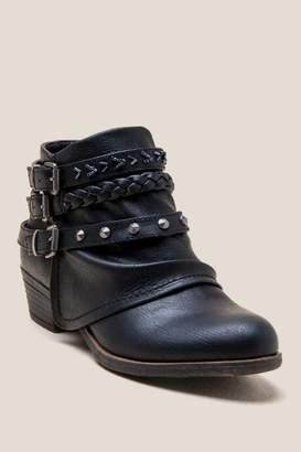 Truth Embellished Strap Ankle Boot - Black
