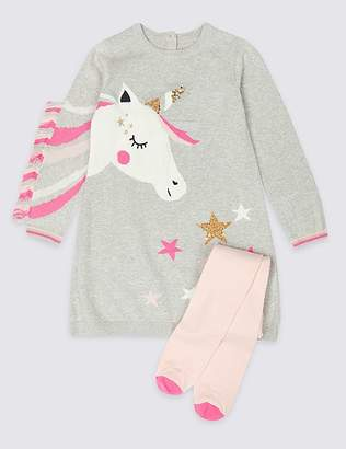 Marks and Spencer Unicorn Knitted Dress with Tights (3 Months - 7 Years)