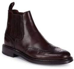 Brioni Leather Goodyear Brogue Ankle Boots