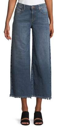 Eileen Fisher Organic Cotton Stretch-Denim Wide-Leg Ankle Jeans with Raw Edges, Plus Size