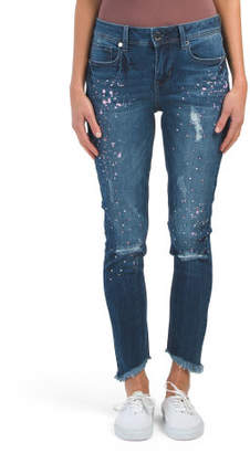 Shredded Hem Skinny Paint Splatter Jeans