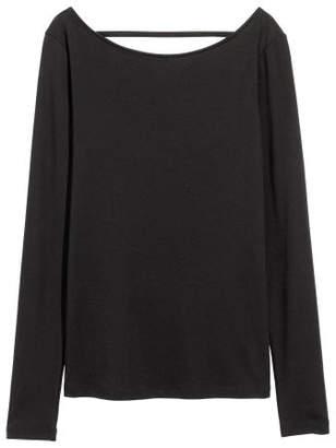 H&M Lyocell-blend Jersey Top - Black