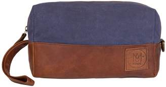 Dopp MAHI Leather - Canvas and Leather Classic Wash Bag in Navy and Brown