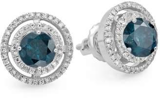 DazzlingRock Collection 14K White Gold Round & White Diamond Ladies Halo Style Stud Earrings