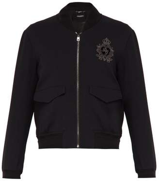 Dolce & Gabbana Crown Logo Embellished Bomber Jacket - Mens - Black