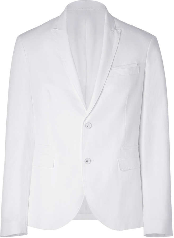 Neil Barrett White Cotton and Linen Blend Jacket