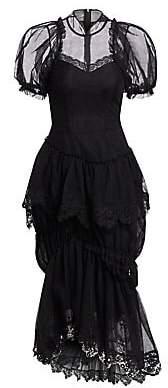 Simone Rocha Women's Drop Frill Mandarin Dress