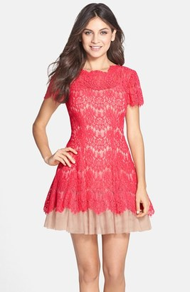 Betsy & Adam Short Sleeve Lace Fit & Flare Dress $218 thestylecure.com