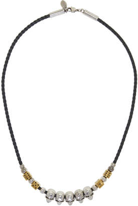 Alexander McQueen Black Leather Skull and Dice Necklace
