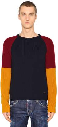 DSQUARED2 Color Block Wool Rib Knit Sweater