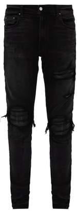 Amiri Mx1 Leather Patch Slim Jeans - Mens - Black