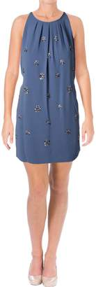 BCBGMAXAZRIA Womens Lynzie Crepe Embellished Special Occasion Dress Blue S