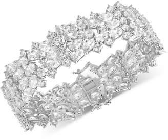 Tiara Cubic Zirconia Cluster Wide Link Bracelet in Sterling Silver