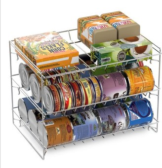3 Tier Can Dispenser - Stackable Can Organizer Rack for Kitchen Pantry, Countertop, and Cabinets by Classic Cuisine (Holds Up To 36 Cans) (Chrome)