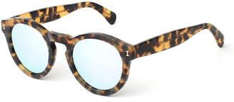 Illesteva Leonard Round Mirrored Sunglasses, Tortoise/Silver