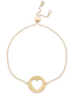 Kate Spade Gold-Tone Heart Pendant Slider Bracelet