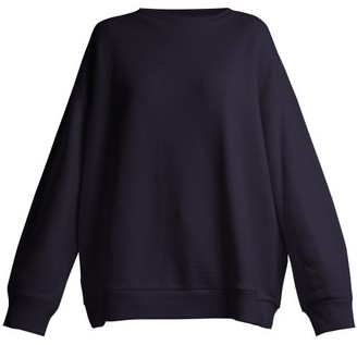 Raey Crew Neck Japanese Jersey Sweatshirt - Womens - Navy