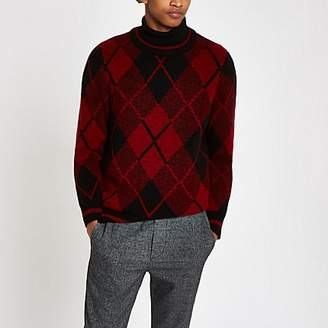 River Island Red argyle slim fit crew neck jumper
