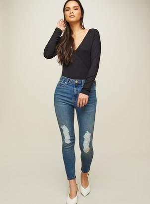 Miss Selfridge Petite lizzie ripped high waist super skinny jeans