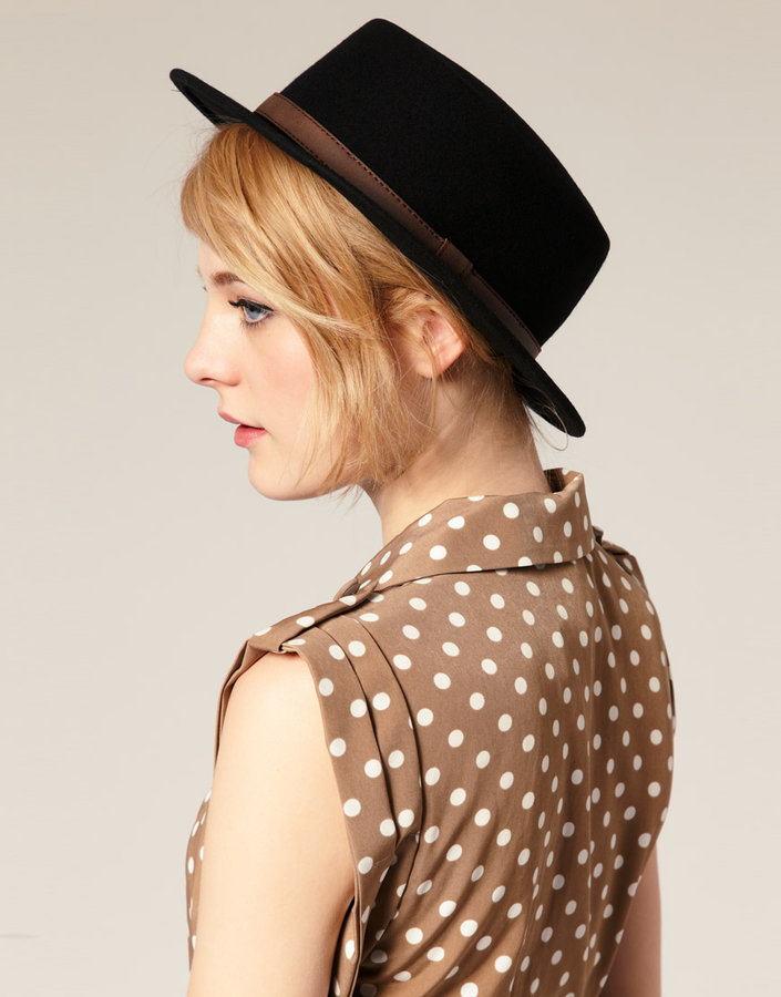 ASOS Felt Boater Hat With Leather-Look Trim