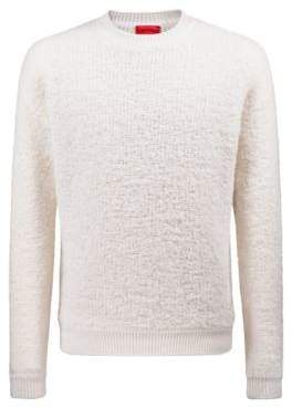 HUGO Boss Oversized shearling-effect boucle sweater chunky ribbing S Open White